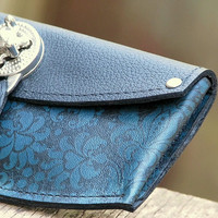 Women's Leather Wallet - Baroque Steampunk on Blue with Silver Hardware