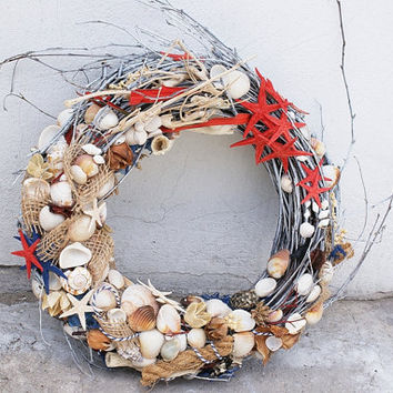 seashell wreath, nautical wreath, nautical decoration, home decor, sea decor, photo props, home & living, summer wreath, door wreath