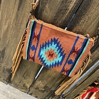 Camel & Turquoise Cross Body Purse