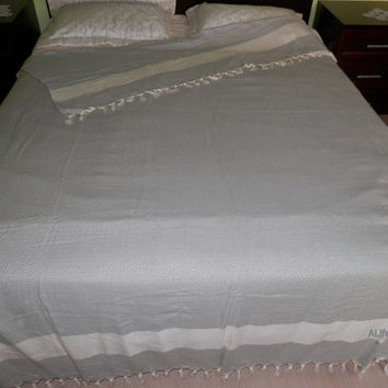 Gray colour diamond patterned Turkish soft cotton blanket, throw blanket, bed cover.