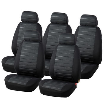 AUTOYOUTH 5 Seats Van Seat Covers Airbag Compatible, 5MM Foam Checkered Universal Fit Most Vans, Minibus Interior Accessories