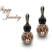 Swarovski® Crystal Earrings, 8mm Vintage Rose, 5mm Crystal Silver Night, Double Stone, Lever Back Drops, Neutrals/Black Combo, Gift Packaged