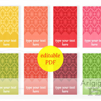 hang tags, editable PDF, printable, damask gift tag, spring colors, type your text, instant download