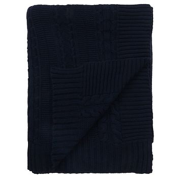 "Cable Knit GOTS Certified 100% Organic Cotton Oversized Throw Blanket, 50""X70"", Navy"