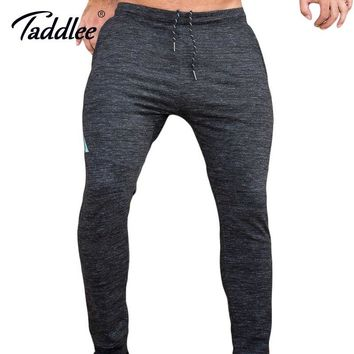 Taddlee Brand Jogger Sports Running Pants Men's Slim Fit Basic Flat-Front Black Ankle Trousers GYM Skinny Bottoms Sweatpants New