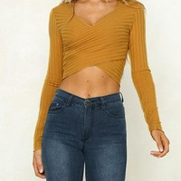 Criss-Cross Knit Crop Top