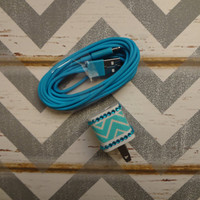 New Super Cute Jeweled Blue & White Chevron Design Wall iphone 5,5s Charger + 10ft cable cord