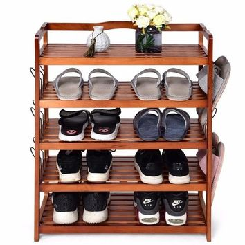 5-Tier Wooden Shoe Rack Shelf Storage