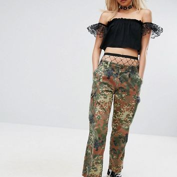 Milk It Vintage Festival Camo Trousers at asos.com