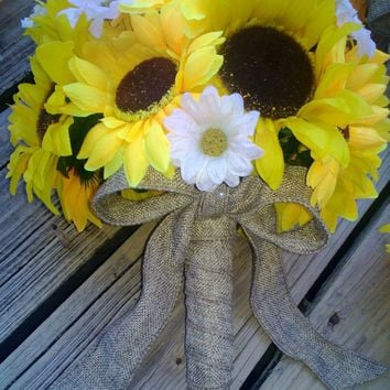 Sunflower Bouquet Silk Artificial Wedding Flower Bouquet wrapped in Natural Burlap