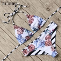 RUUHEE Bikini 2017 Sexy Swimwear Women pineapple Printed Bikini Set Halter Bandage Swimsuit Push Up Bathing Suit Beachwear