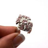 10 dollar SALE!!...Pink Rhinestone Ring Adjustable Silver Tone Vintage Costume