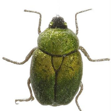 Christmas Ornament - Green And Silver Scarab Beetle
