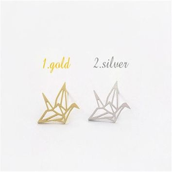 Brincos Sale Trendy Unisex None Animal Cc Earrings For 2015 Fashion New Chic Hollow-out Papercranes Earring Set Bird Earrings