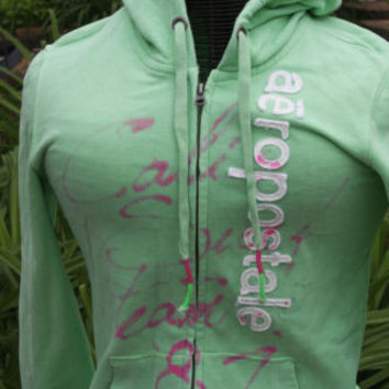 Aeropostale Lime Green & Pink Zip Up Comfy Hoodie Women's Size Medium