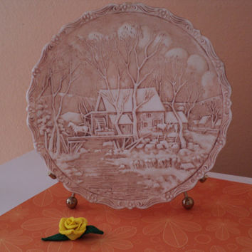 Fenton Decorative Plate Winter In The Country 1980 The Old Grist Mill Handpainted and Signed by Artist L. Clevenger