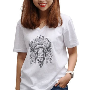 Women Remove from parent Printed V-neck T-shirt WTS_16