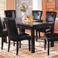 7 pc Brandon collection espresso finish wood and marble top dining table set