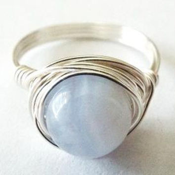 Blue Lace Agate ring - wire wrapped jewelry handmade - boho ring - blue stone ring - light blue ring - cute ring - wire wrap ring