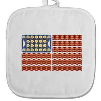 American Breakfast Flag - Bacon and Eggs White Fabric Pot Holder Hot Pad