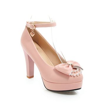 Super High Heel Butterfly Knot Platform Pumps Ankle Straps Buckle Women Shoe