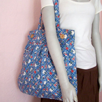 Large Fabric Handbag Purse Red White and Blue by twochickies