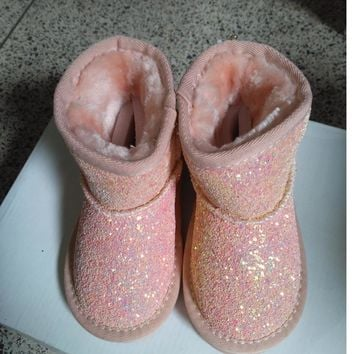 KIDS winter fashion fur boots for children pink glitter shoes boys  leather boots baby girls brand warm boots black
