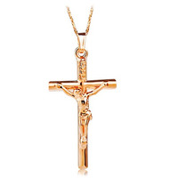 Rigant Cross Pendant Necklace (Champagne Gold)
