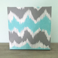 Abstract Chevron Ikat Decorative Square Canvas-6x6in-Gray/White/Blue-Free Custom Quote