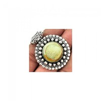 Genuine 925 sterling silver Gold Pearl Window Druzy Pendant