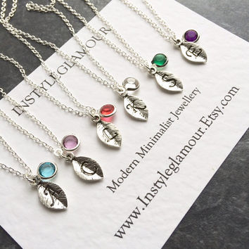 Initial Necklace, Initial Leaf Necklace, Leaf Necklace, Minimal Necklace, UK Seller
