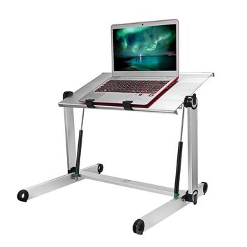 """Konesky Height Adjustable Aluminum Laptop Desk Portable Standing Table Foldable PC Stand for Office Home Sitting Standing(Panel Size: 20.8*11.4"""")"""