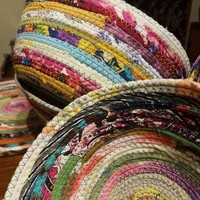 "M2O Multicolor Jeweled Fabric Basket, Made to Order, You CHOOSE Colors, 9"" Diameter, Upcycled, Eco Friendly Boho Hippie Unique Gift"