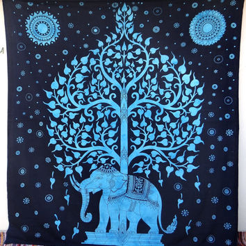 Blue Tree of life elephant Tapestry Wallhanging good luck mandala bedsheet bedspread tapestries