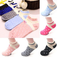 5 Pairs Women Candy Color Heart Cute Ankle High Low Cut Cotton Socks Sports New