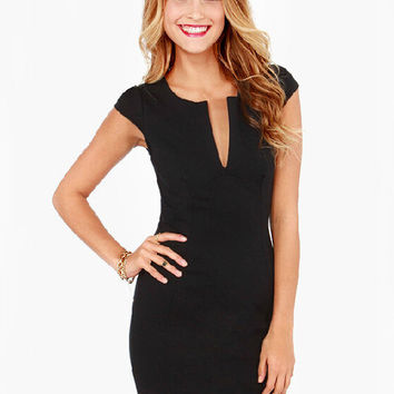 Black Short Sleeve Deep V-Neck Bodycon Mini Dress