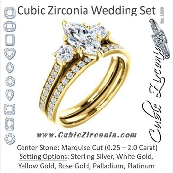 CZ Wedding Set, featuring The Tess engagement ring (Customizable Marquise Cut Trellis-Enhanced Bridge Setting with Semi-Pavé Band)
