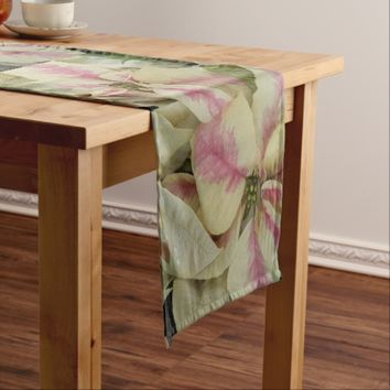 Pink and Cream Poinsettia Floral Photo Short Table Runner