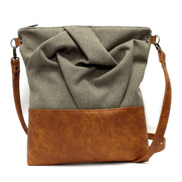 Brown Cross Body Bag, Origami Shoulder Bag,Sand Crossbody Purse,Vegan Leather Bag,Brown Messenger Bag,Boho Messenger Bag,Casual Shoulder Bag