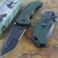 US ARMY Survival Tactical Half Serrated Rescue Knife Steel Blade G10 Handle