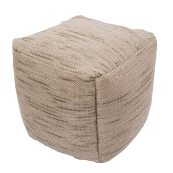 "Green Wool and Cotton Pouf (18""""x18""""x18"""")"