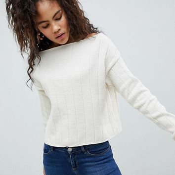 ASOS DESIGN Tall eco off shoulder cropped sweater in oversized rib at asos.com