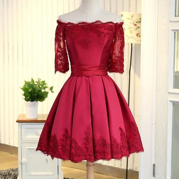 Fashion Sexy off shoulder lace side splicing show thin dress