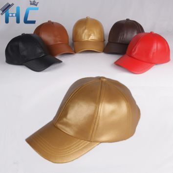 new faux leather baseball cap women snapback gorras trucker hats outdoor sport