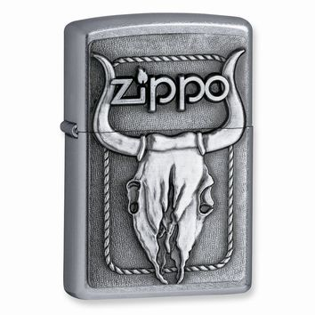 Zippo Bull Skull Street Chrome Lighter - Engravable Personalized Gift Item