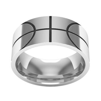 Basketball Ring, Sports ring, Basketball Jewelry, Silver ring,