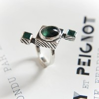 Art deco ring with green tourmaline and emeralds