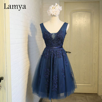 Lamya Real Photos Short Navy Blue Evening Dresses 2017 V Neck Vintage Lace Appliques Beaded Prom Dress Vestido De Festa EV2970