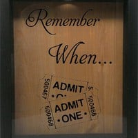 """Wooden Shadow Box Wine Cork/Bottle Cap Holder 9""""x11"""" - Remember When with Tickets"""