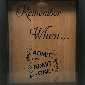 "Wooden Shadow Box Wine Cork/Bottle Cap Holder 9""x11"" - Remember When with Tickets"